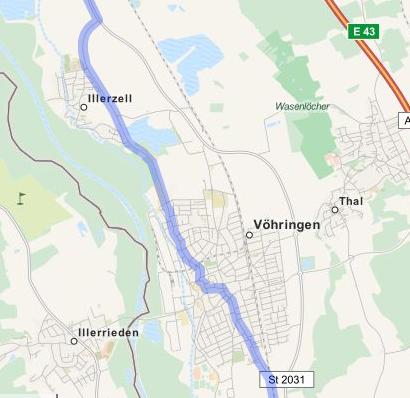 OSM-Fahrradrouting an Voehringen vorbei. Karte: © OpenStreetMap-Mitwirkende