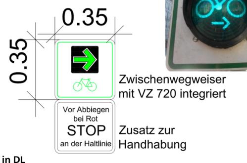 Ulmer Eigenkonstruktion: Der Rechtsabbiegepfeil fuer's Rad